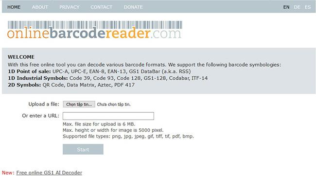 Giao diện website check mã vạch sản phẩm Online - Online Barcode Reader