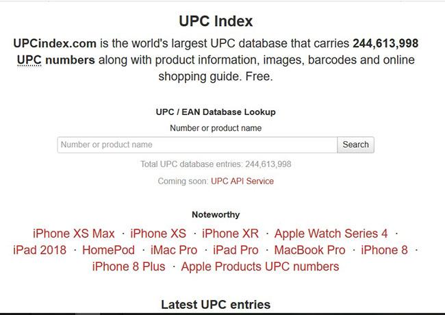 Giao diện website check mã vạch sản phẩm Online - UPC index