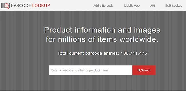 Giao diện ứng dụng check mã vạch sản phẩm Online Barcode Lookup