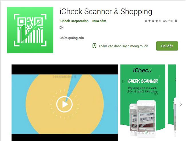 Phần mềm ứng dụng quét mã vạch - iCheck Scanner & Shopping