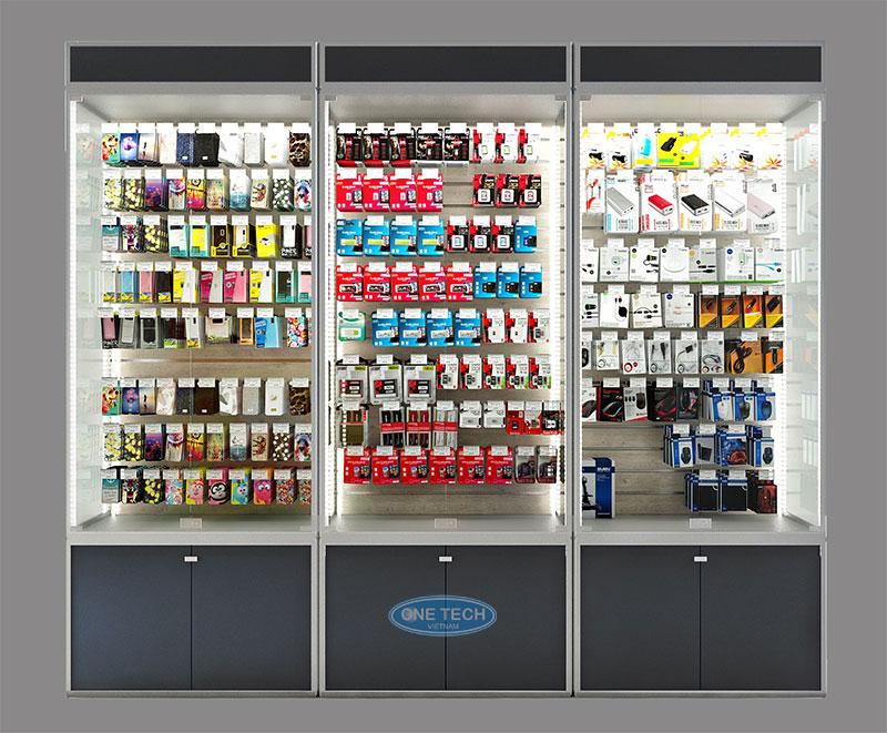 Mẫu tủ kệ trưng bày phụ kiện chuyên nghiệp