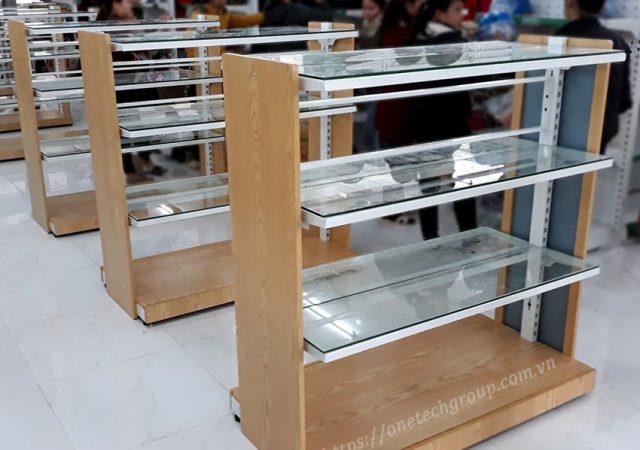 Kệ sắt gỗ kính