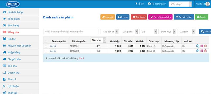 phần mềm quản lý bán hàng onetechpos