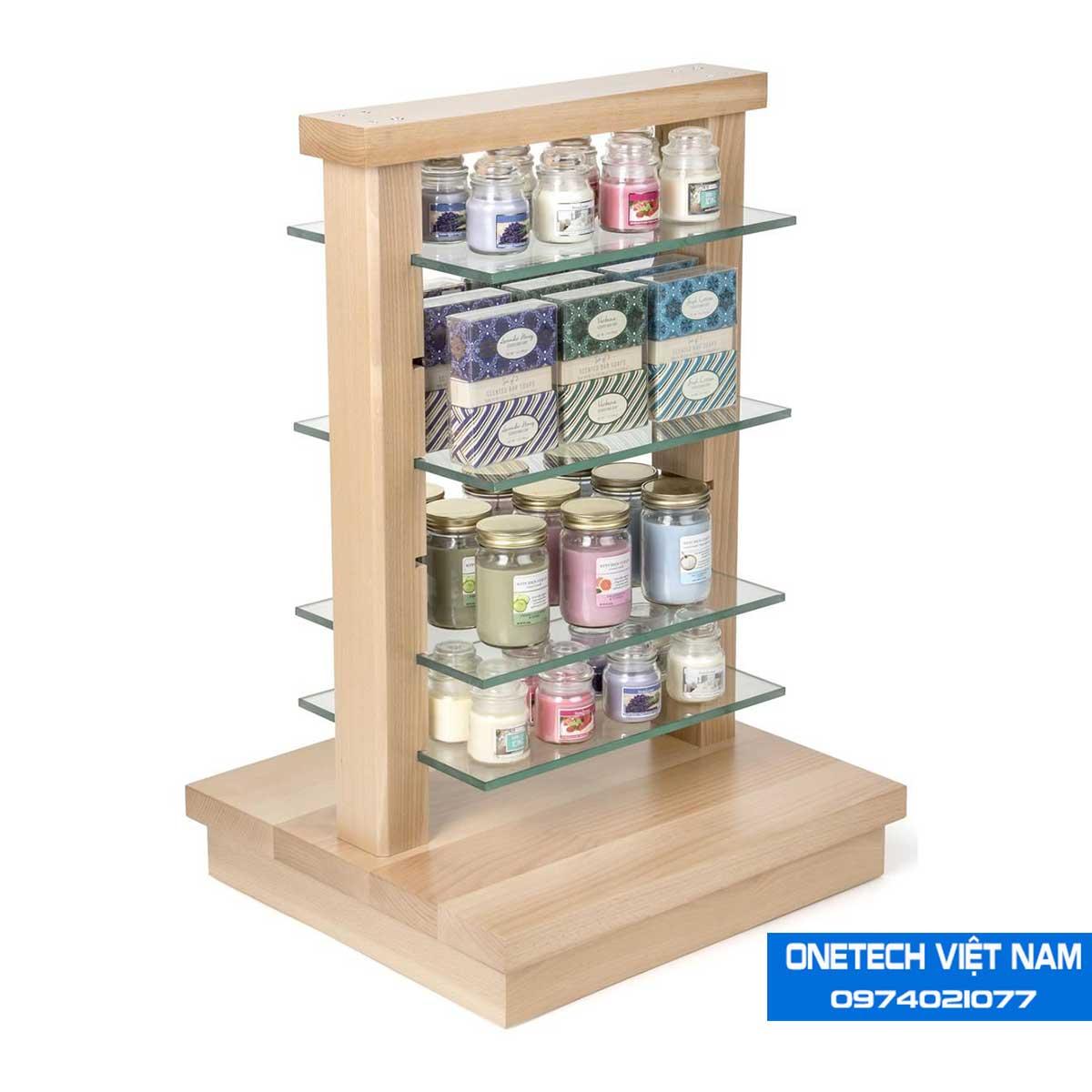 Kệ trưng bày sản phẩm gỗ kính