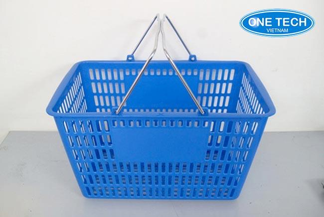 giỏ nhựa siêu thị quai inox