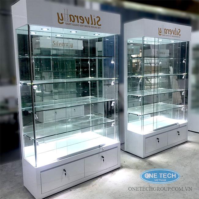Mẫu kệ tủ kính trưng bày sản phẩm mẫu, hàng hóa có giá trị cao
