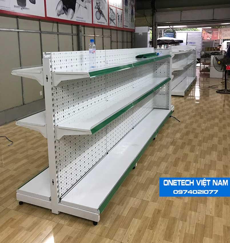 Giá hàng siêu thị tôn đục lỗ - tôn liền