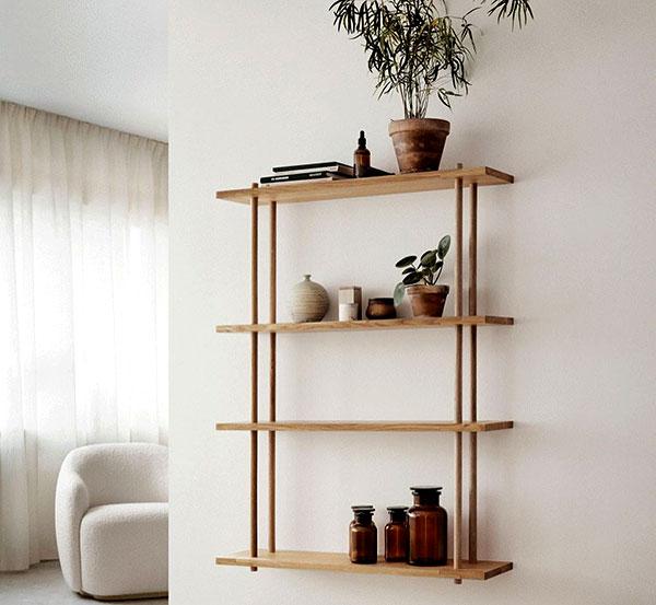 Kệ được làm bằng chất liệu gỗ