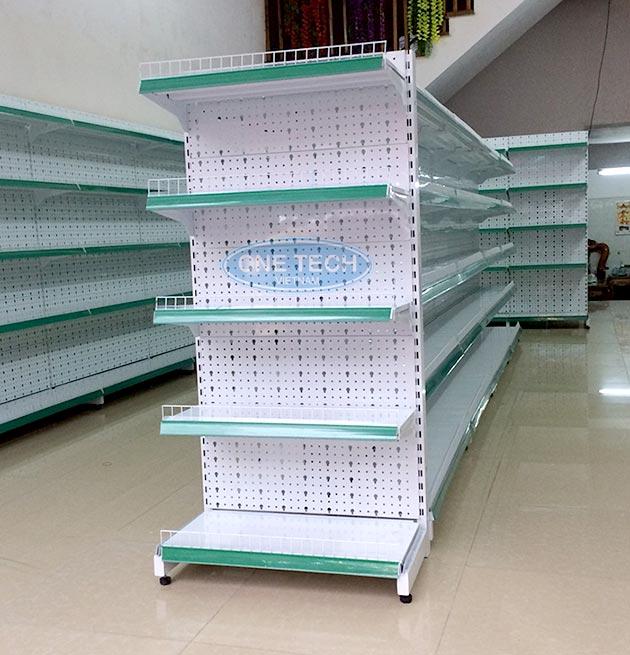 Giá để đồ siêu thị màu xanh lá cây