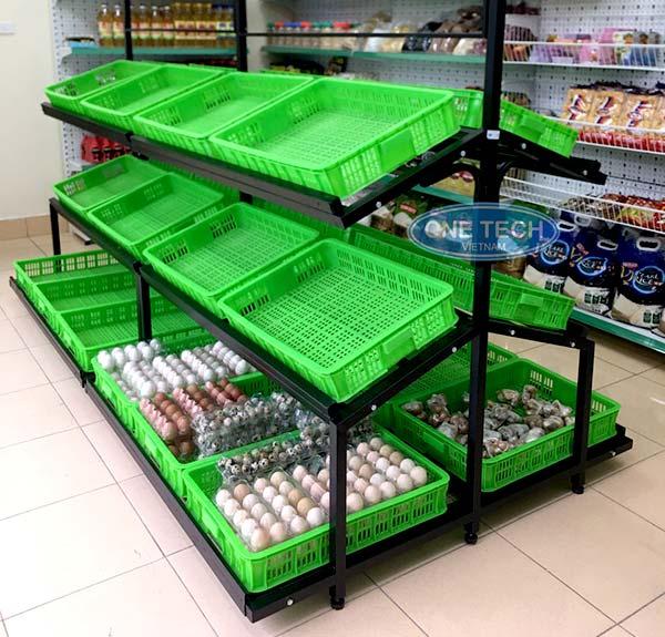 Kệ bán hàng rau củ quả, gia vị, các loại thực phẩm khác