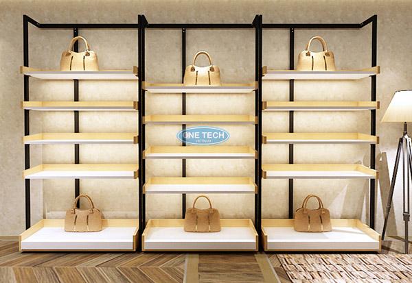 Kệ gỗ trưng bày túi xách