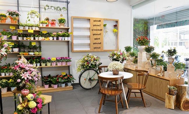 Lựa chọn kệ cho shop hoa tươi nhỏ