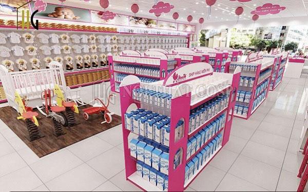 Giá kệ trưng bày sản phẩm sữa, giày dép cho bé