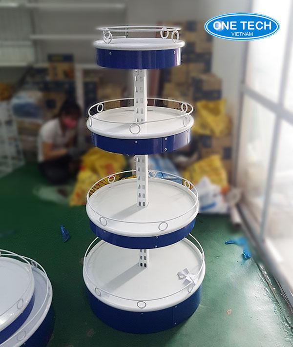 Kệ tròn bày hàng màu xanh - thiết kế 4 tầng