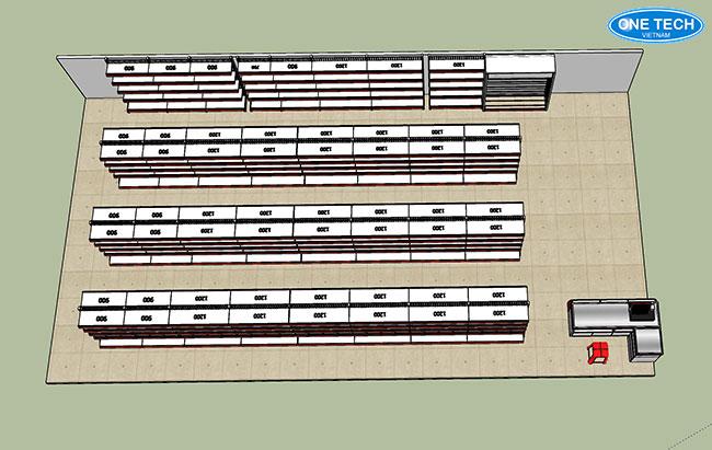 Mẫu thiết kế 2D, 3D theo diện tích, quy mô của siêu thị, cửa hàng